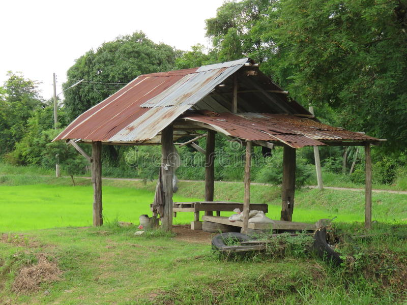 Shelter hut in a field is created in order to rest after farming. Thailand royalty free stock photography