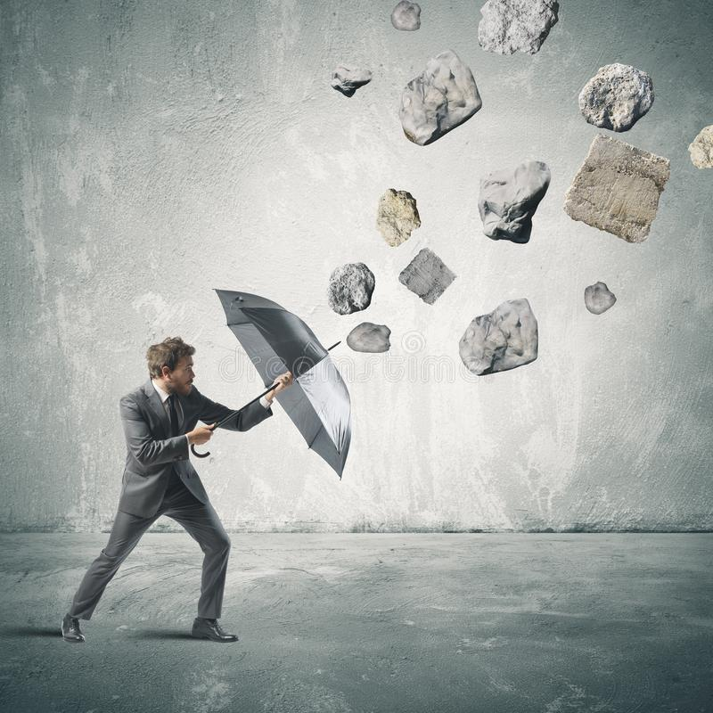 Shelter from the storm of crisis stock photos