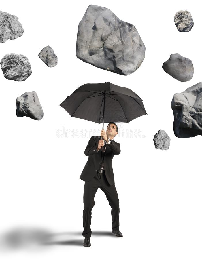 Shelter from the storm of crisis royalty free stock photos