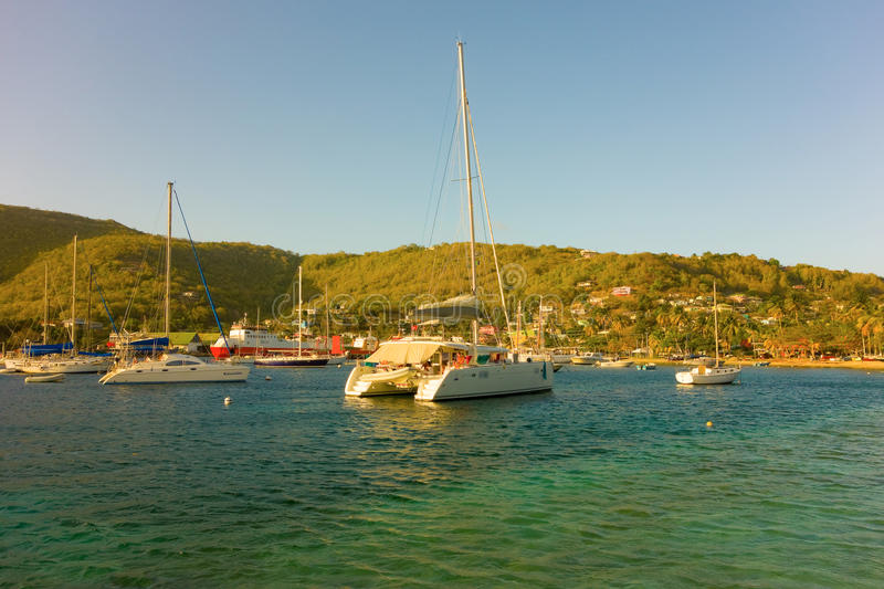 A sheltered anchorage in the grenadines royalty free stock image