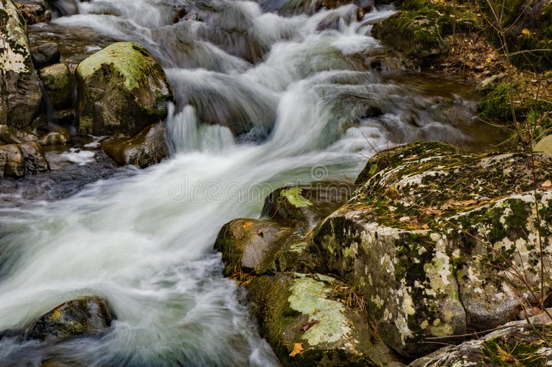 A Sheltered Wild Mountain Trout Stream. An autumn view of a sheltered wild mountain trout stream located in the Blue Ridge Mountains of Botetourt County of royalty free stock image