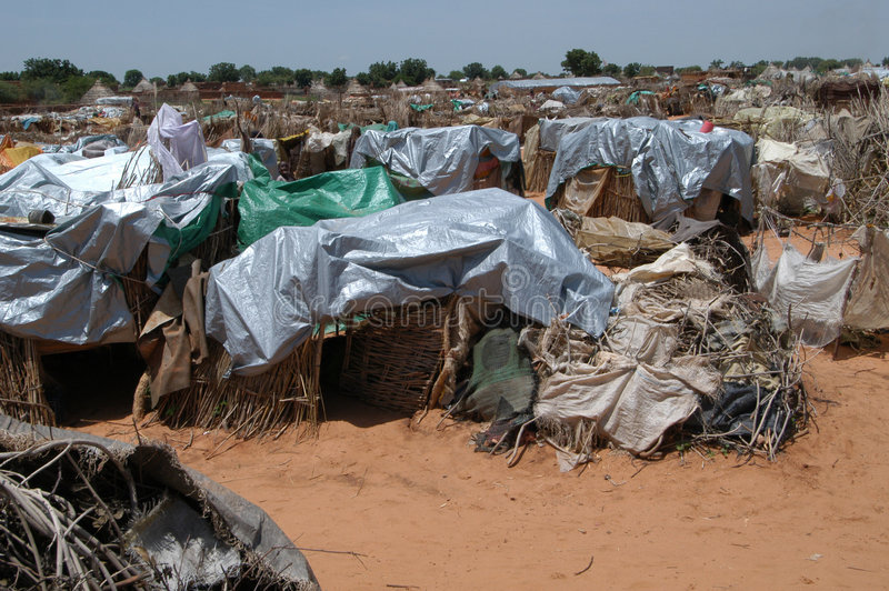 Shelters in Darfur Camp stock image