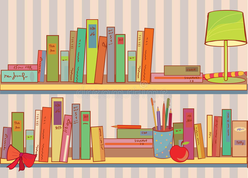 Download Shelves with books at home stock vector. Image of creative - 19452415