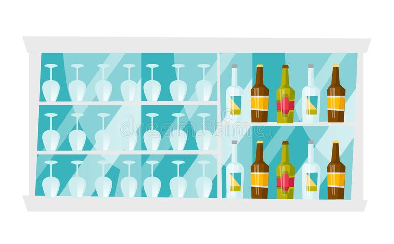 Shelves with bottles and glasses vector cartoon. Bar shelves with lots of bottles with alcohol drinks and wine glasses vector cartoon illustration isolated on vector illustration
