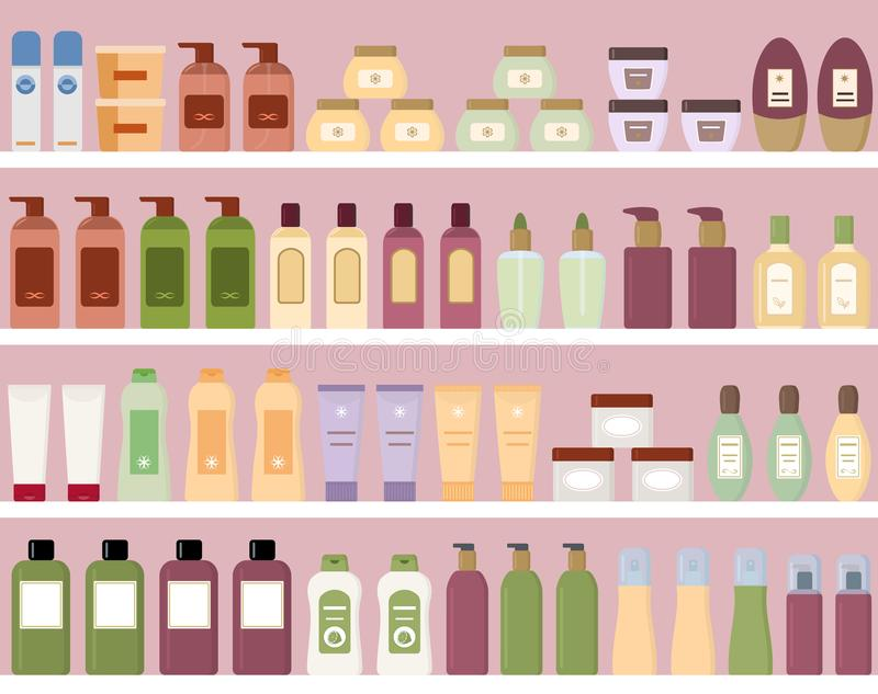 Shelves with colorful cosmetic products in plastic bottles. Seamless pattern. Flat style vector illustration vector illustration