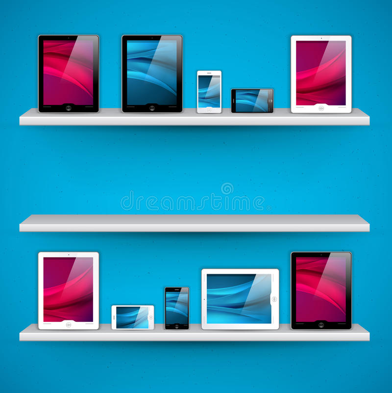 Download Shelves With Devices - Vector Stock Vector - Illustration: 25324547