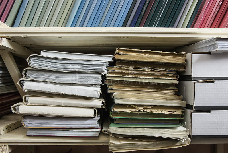Shelves with folders with documentation. Close-up stock photo