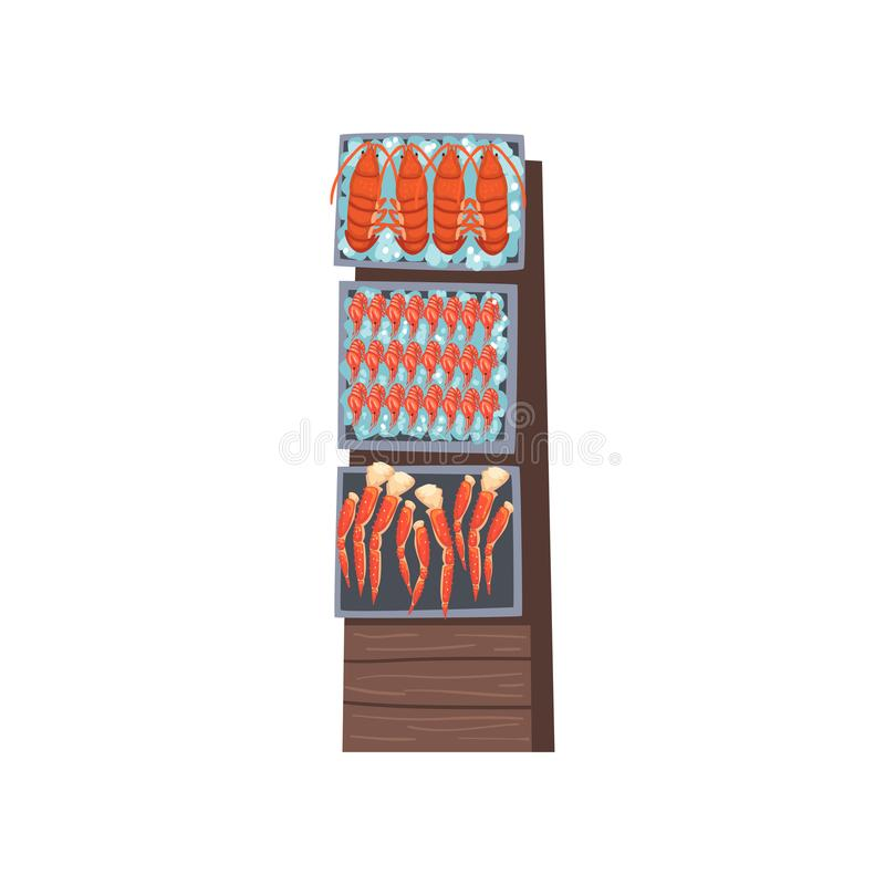 Shelves with Fresh Fish with Ice Cubes, Seafood Market with Freshness Fish Products on Counter Vector Illustration vector illustration