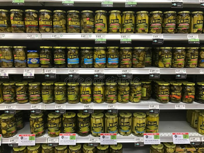 Shelves Full of a Variety of Pickles stock photo