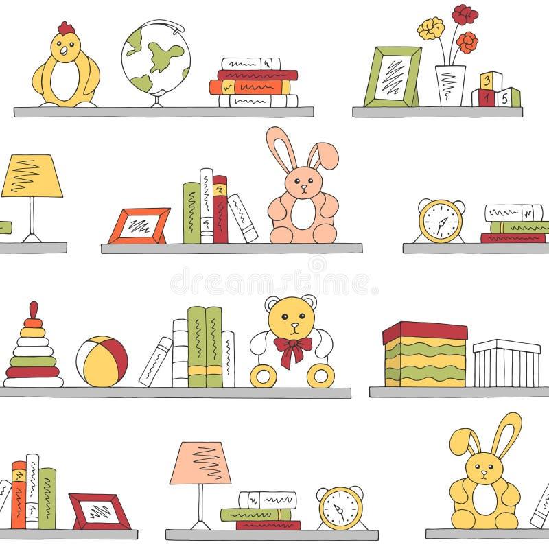 Shelves graphic color children room toy book seamless pattern background sketch illustration vector royalty free illustration