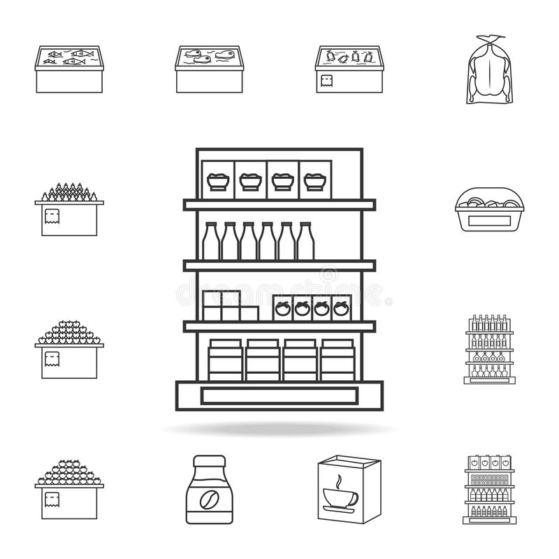 Shelves in the grocery store icon. Detailed set of shops and hypermarket icons. Premium quality graphic design. One of the collect. Ion icons for websites, web stock illustration