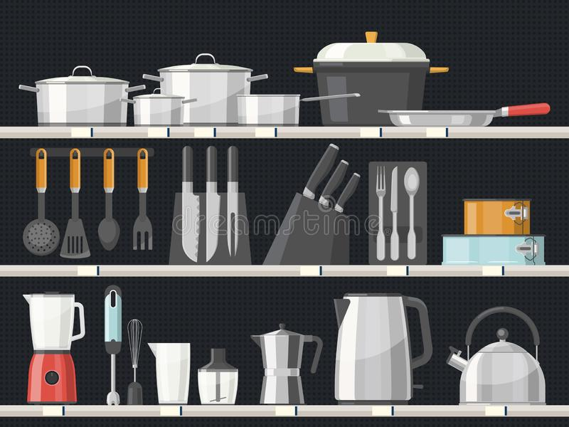 Kitchen accessory or kitchenware at shelves royalty free illustration