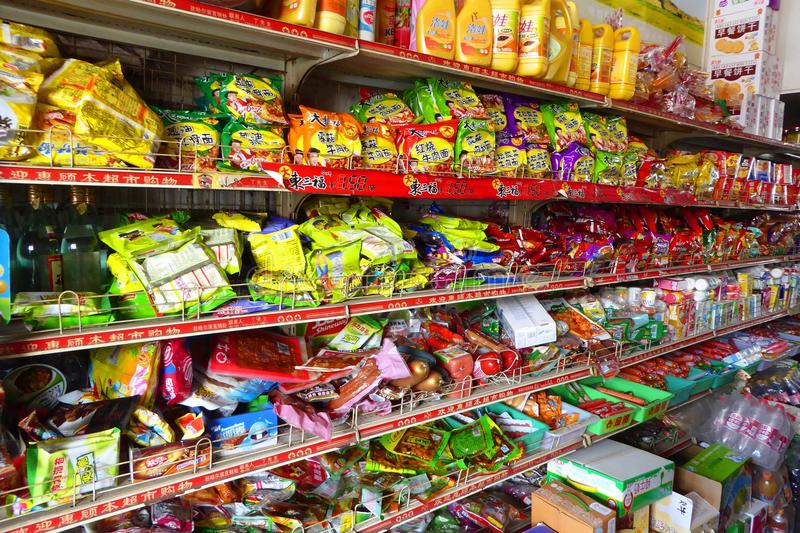 Shelves in a Chinese market stock images