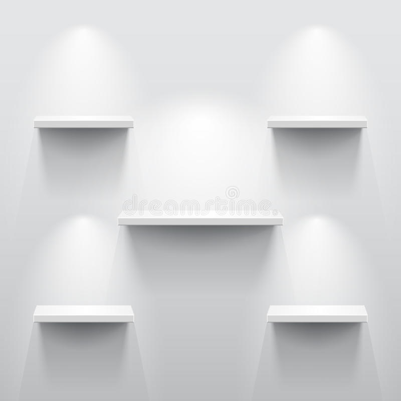 Shelves with shadow in empty white room. Shelves with light and shadow in empty white room vector illustration