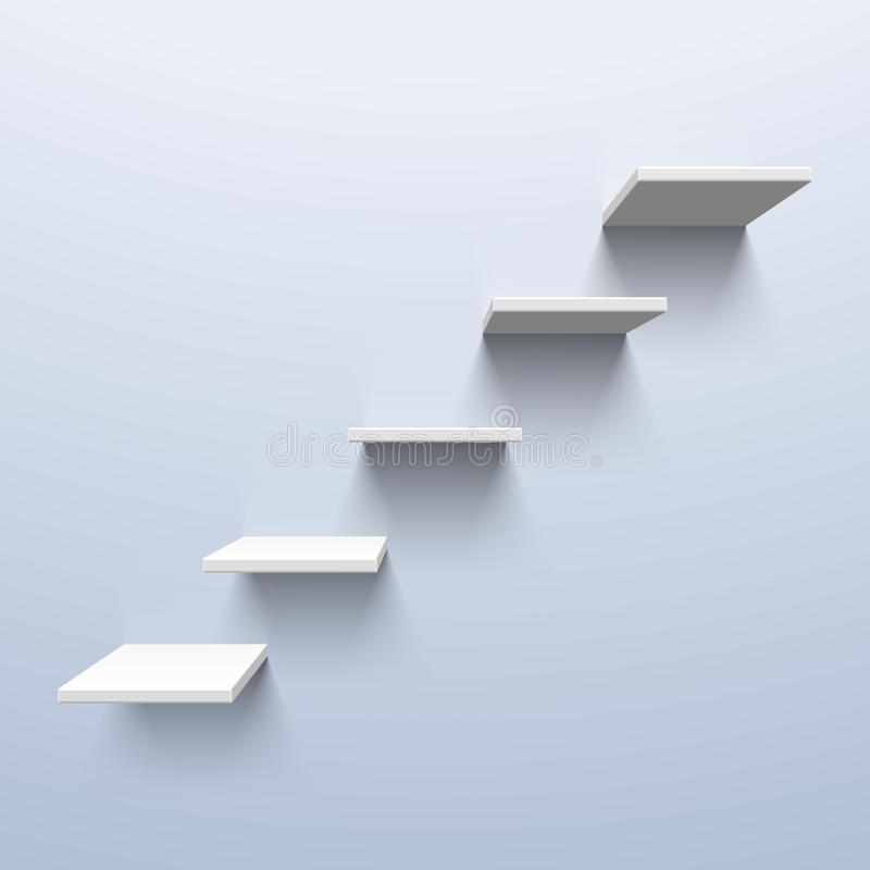 Shelves in the shape of stairs. Illustration vector illustration