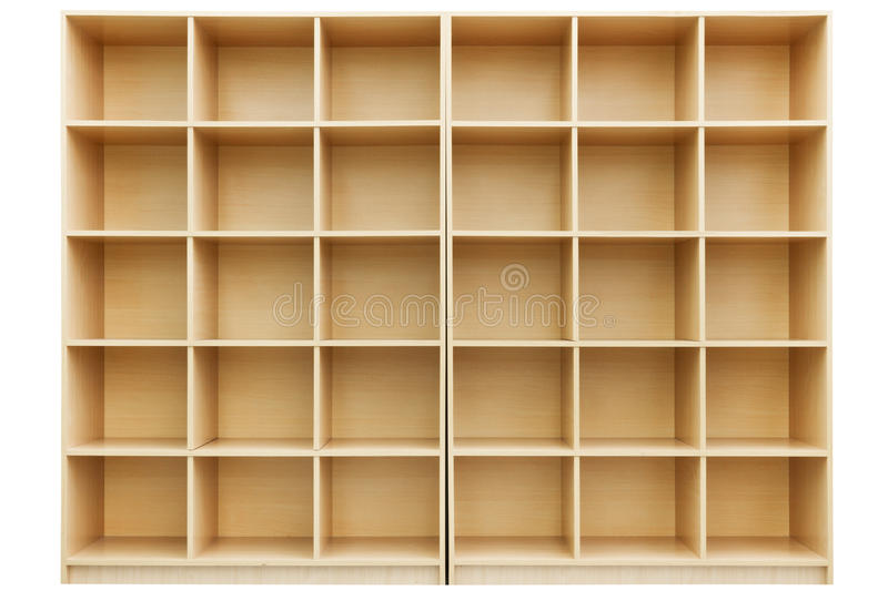 Shelves, Small wooden box with cells. Isolated on white royalty free stock photography