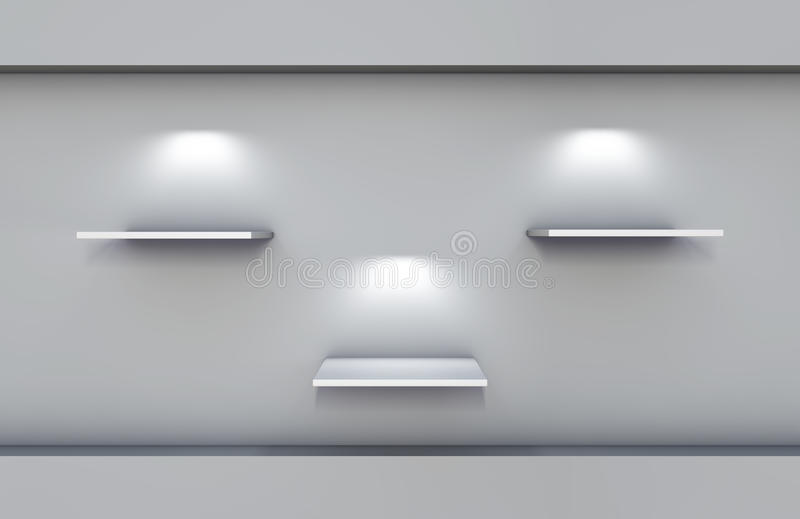 Shelves And Spotlights For Exhibit Royalty Free Stock Image