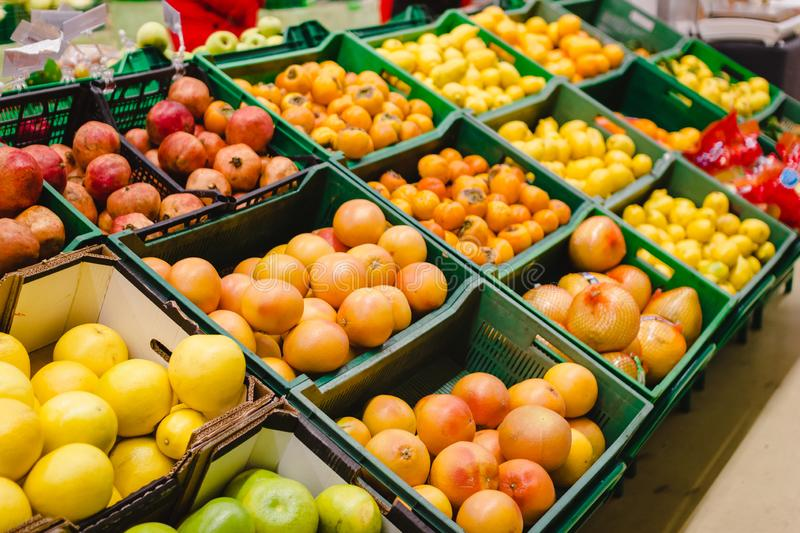 Shelves with variety testy vitamin products in fruit and vegetables department in the supermarket stock image