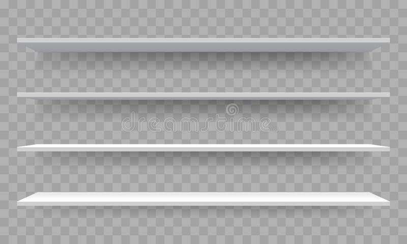 Shelves on wall perspective. Vector isolated 3D shelf racks templates on transparent background. Shelves on wall perspective. Vector isolated 3D shelf racks royalty free illustration
