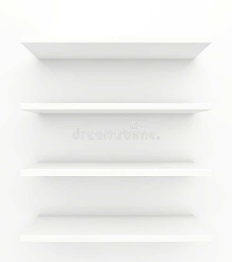 Shelves on a white background. 3d render.  royalty free illustration