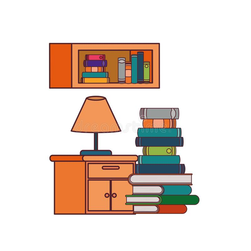Shelving with books and wooden drawer. Vector illustration desing stock illustration