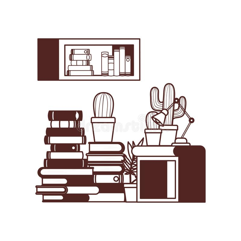 Shelving with books and wooden drawer. Vector illustration desing royalty free illustration