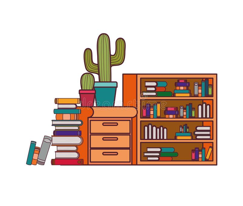 Shelving with books and wooden drawer. Vector illustration desing vector illustration