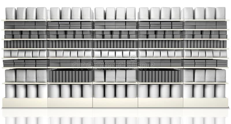 Shelving do supermercado com produtos genéricos ilustração do vetor
