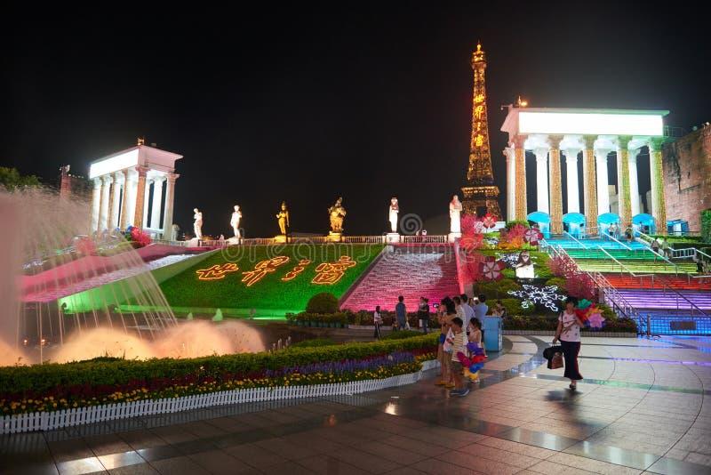 Shen Zhen Windows del mundo en China en la noche fotografía de archivo