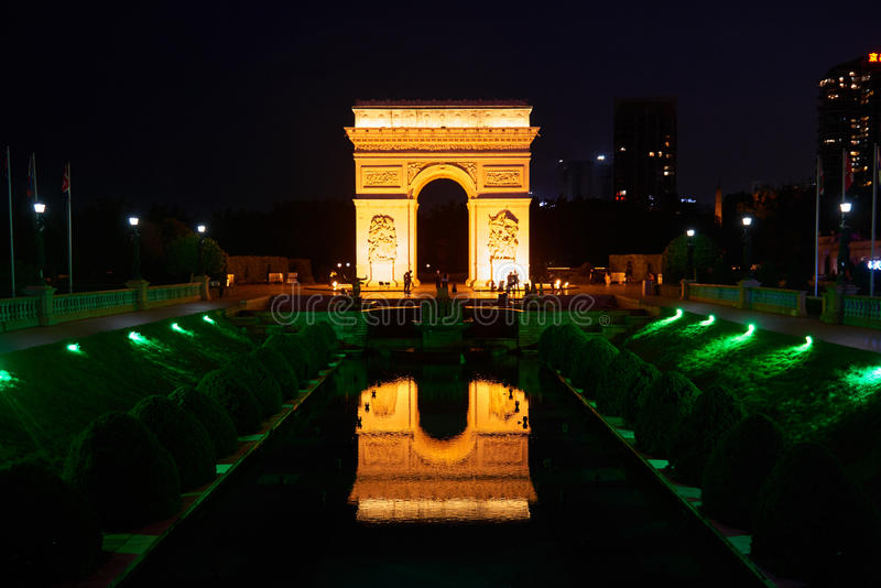 Shen Zhen Windows of the World in China at night. Arc de Triomphe replica from Windows of the World in Shen Zhen China on May 11 2017. Windows of the world is royalty free stock images