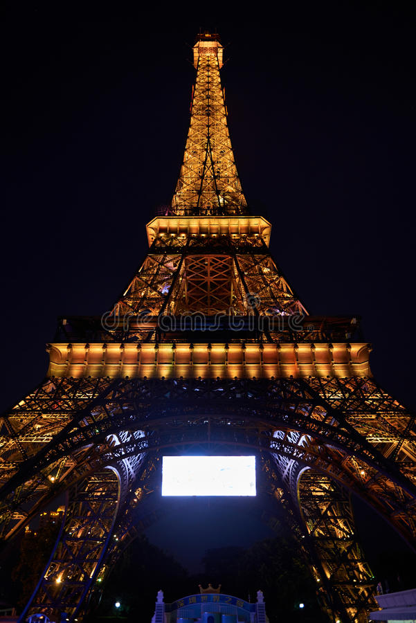 Shen Zhen Windows of the World in China at night. Effiel Tower replica from Windows of the World in Shen Zhen China on May 11 2017. Windows of the world is one stock photo