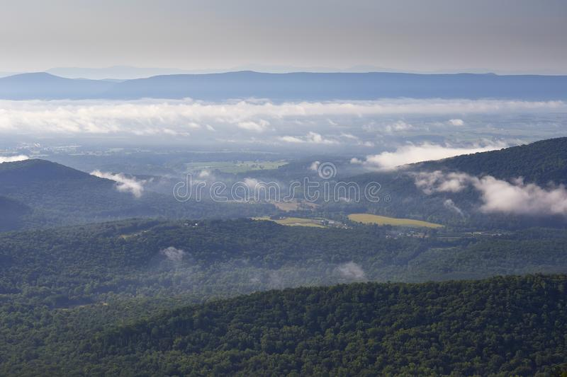 Shenandoah Valley and Blue Ridge Mountains near Woodstock, Virginia. Scenic view of the Shenandoah Valley and the distant Blue Ridge mountains near Woodstock stock photography