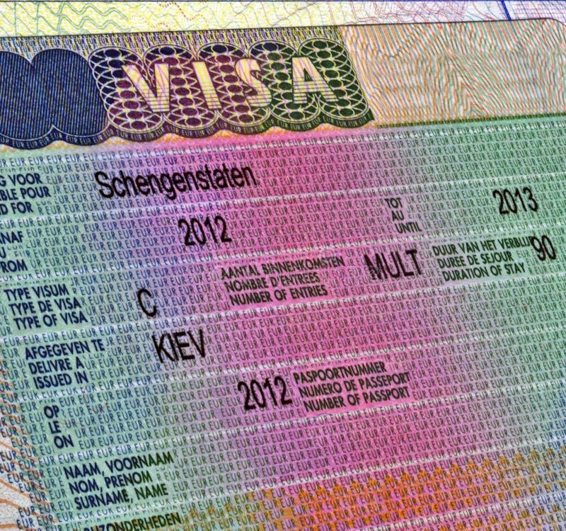 Shengen Visa For Europe Travel Royalty Free Stock Image