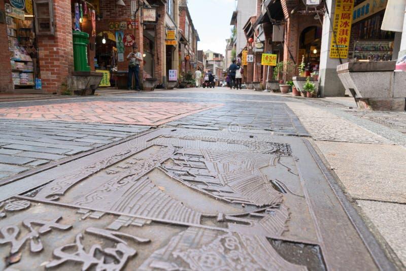 Shenkeng老街道-豆腐资本在台北,台湾 库存图片
