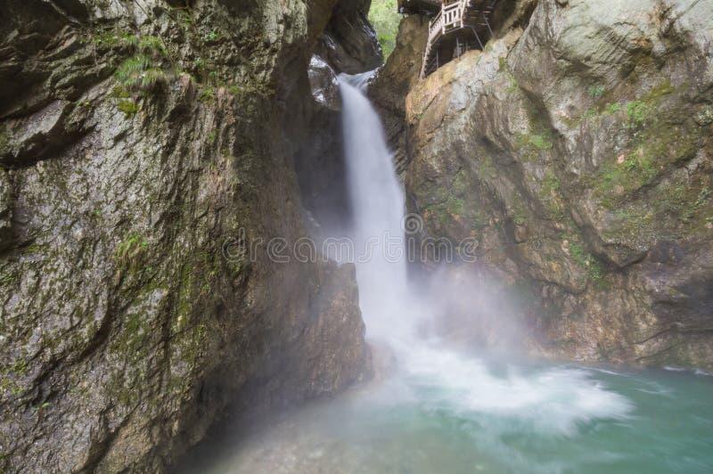 ShenNongJia Tiansheng bridge waterfall and stream. Hubei shennongjia scenic spot.Shennongjia forest region: to manifest the precious value of ecological stock image