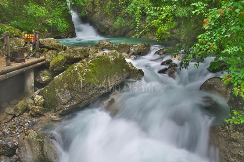 ShenNongJia Tiansheng bridge waterfall and stream. Hubei shennongjia scenic spot.Shennongjia forest region: to manifest the precious value of ecological royalty free stock images