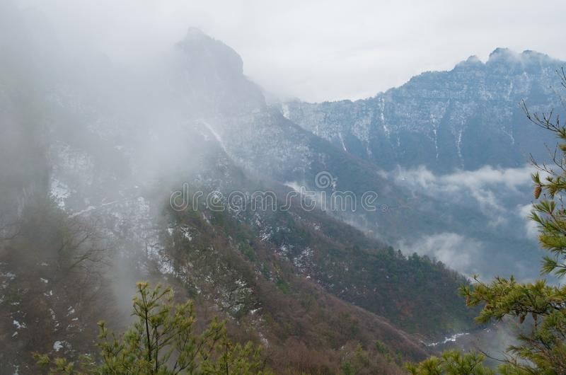 ShenNongJia Tianyan Mountain in winter. Hubei shennongjia scenic spot.Shennongjia forest region: to manifest the precious value of ecological protection and royalty free stock photos