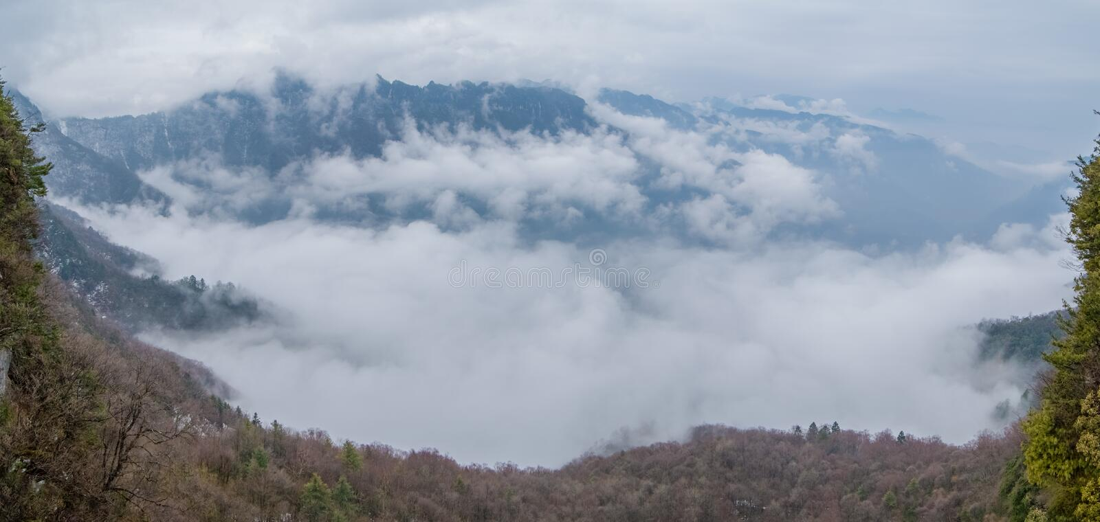 ShenNongJia Tianyan Mountain in winter. Hubei shennongjia scenic spot.Shennongjia forest region: to manifest the precious value of ecological protection and stock image