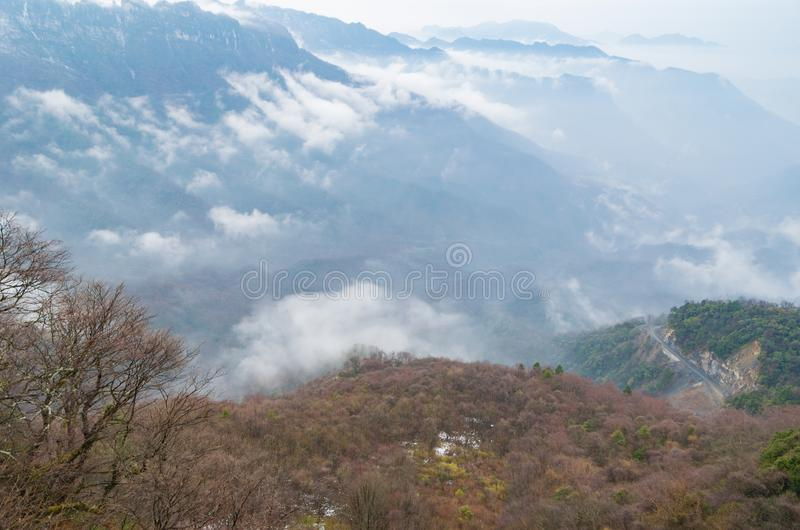 ShenNongJia Tianyan Mountain in winter. Hubei shennongjia scenic spot.Shennongjia forest region: to manifest the precious value of ecological protection and stock images