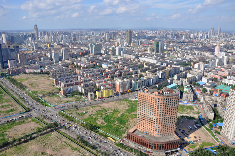 Shenyang City Skyline, Liaoning, China. Aerial view of Shenyang City Skyline, Liaoning Province, China. Shenyang is the largest city in Northeast China ( royalty free stock photo