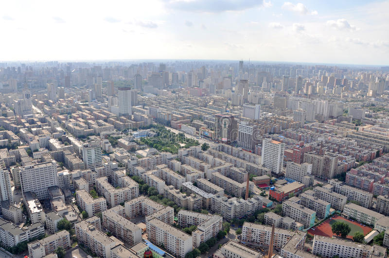 Shenyang Miasta Linia horyzontu, Liaoning, Chiny zdjęcia royalty free