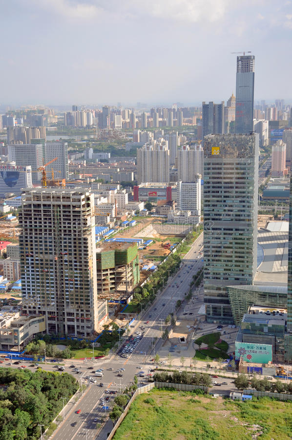 Shenyang New City, China. Aerial view of modern skyscrapers constructed in new city of Shenyang, Liaoning Province, China. Shenyang is the largest city in stock image