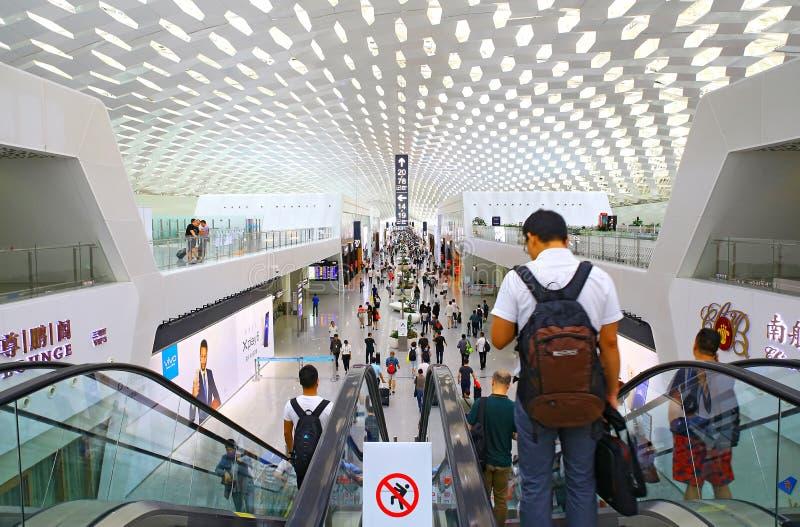 Shenzhen bao` en inre för internationell flygplats royaltyfria bilder