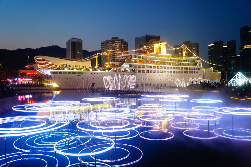 Shenzhen, chinaï τοπίο παγκόσμιας νύχτας θάλασσας šShekou ¼ στοκ εικόνα