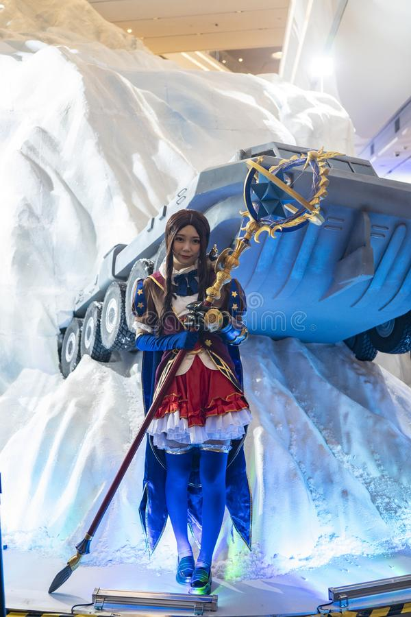 Leonardo Da Vinci cosplayer at Sony Expo 2019. Shenzhen, China, April, 2019. Leonardo Da Vinci cosplayer at Sony Expo 2019. Available only during Special stock photography