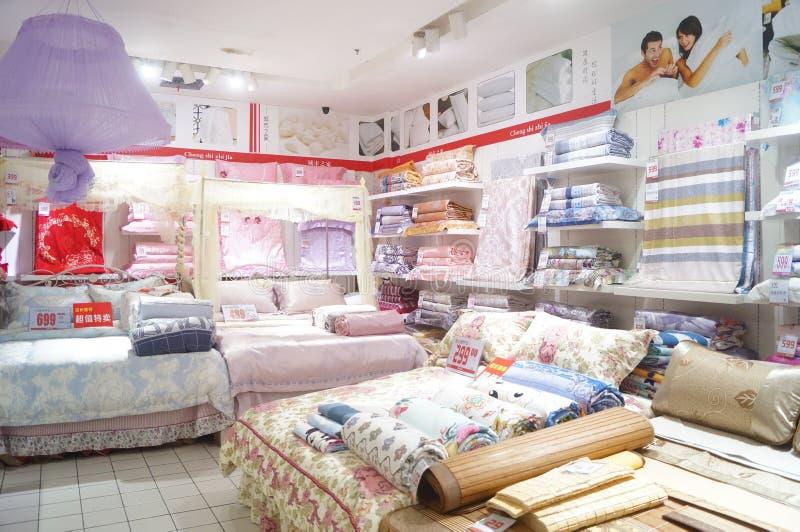 Shenzhen, China: bedding shop stock photography
