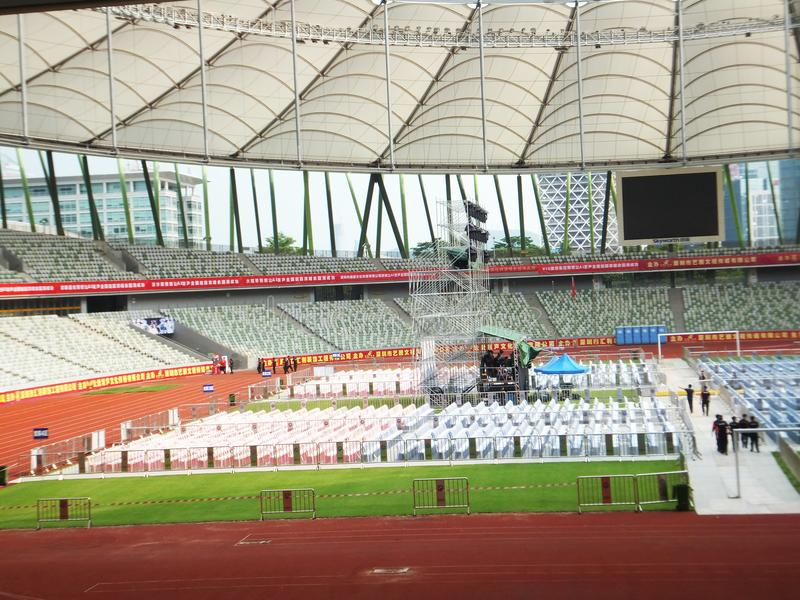 Shenzhen, China: a big concert is held in the stadium. At night, a large concert will be held in the stadium, during the day, the stage sound effect adjustment royalty free stock images