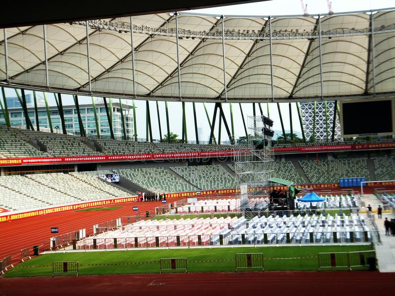 Shenzhen, China: a big concert is held in the stadium. At night, a large concert will be held in the stadium, during the day, the stage sound effect adjustment royalty free stock photos