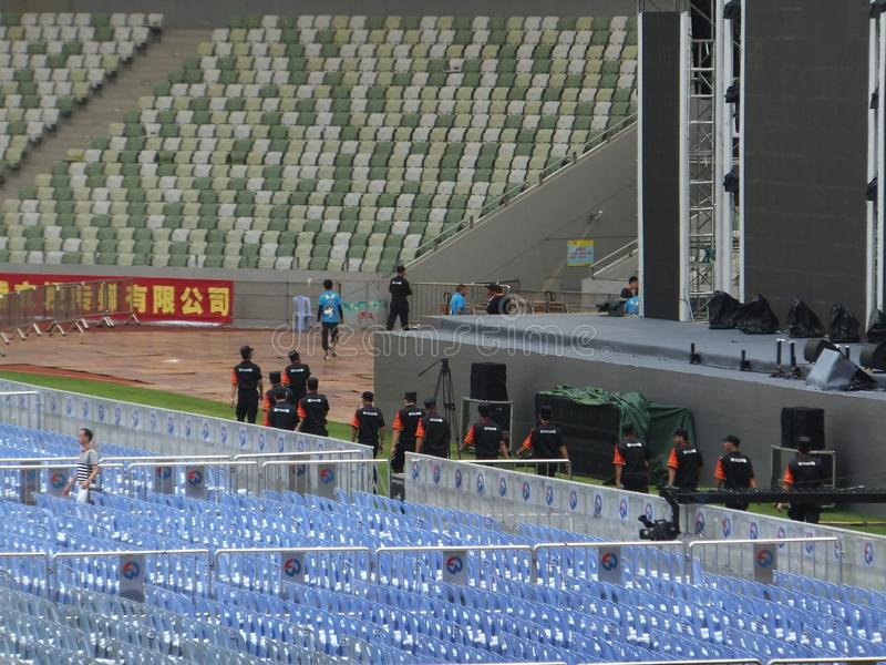 Shenzhen, China: a big concert is held in the stadium. At night, a large concert will be held in the stadium, during the day, the stage sound effect adjustment stock images