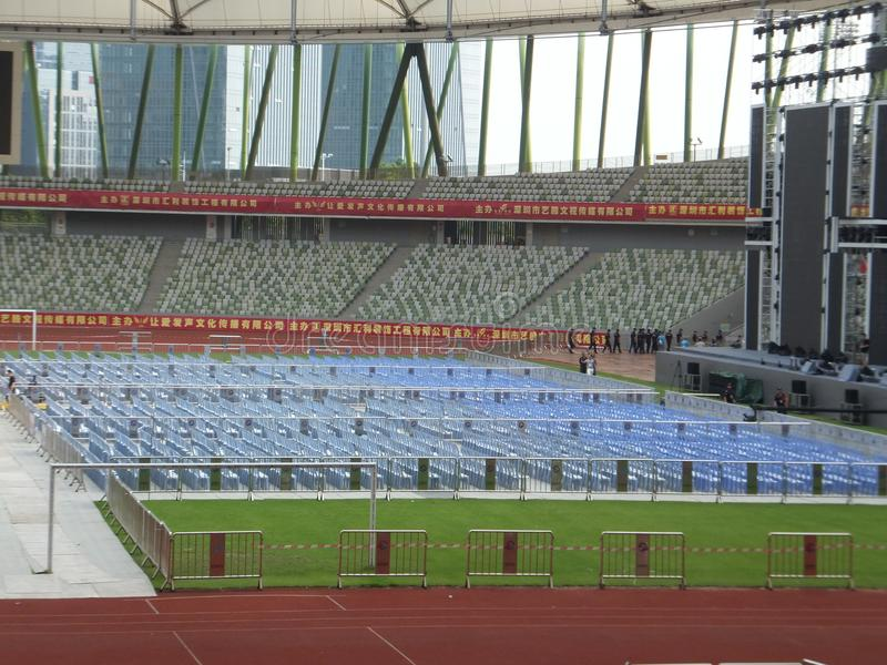 Shenzhen, China: a big concert is held in the stadium. At night, a large concert will be held in the stadium, during the day, the stage sound effect adjustment royalty free stock photo